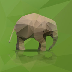 little elephant from triangles walking eps10