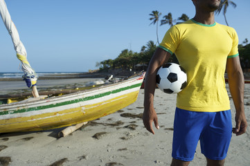 Brazilian Football Player Holding Soccer Ball Nordeste Beach