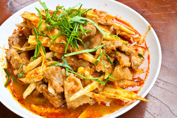 Stir Fried Pork Belly and Red Curry Paste