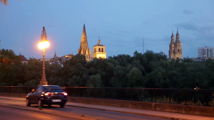 Logrono from bridge over Ebro in evening. Rioja, Spain