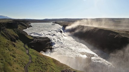 Gullfoss waterfal in the morning