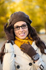 Fashion woman wearing glasses in autumn