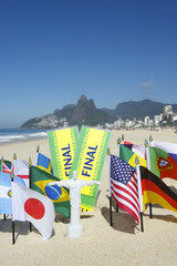 Brazil Final Tickets World Flags on the Beach Rio