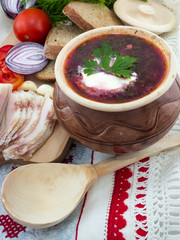 Ukrainian borsch with bacon and vegetables