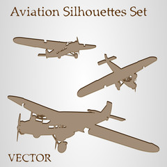 Vector brown plane silhouette set