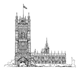 Big Ben and Houses of Parliament, London UK. Sketch collection