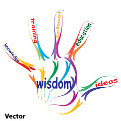 Vector hand print education concept text