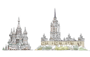 Sketch collection, Moscow famous buildings