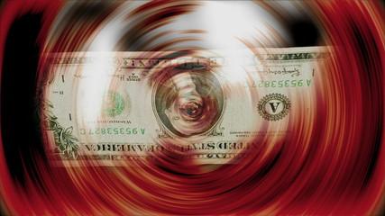 Billete de Un dolar girando