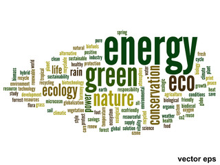 Vector conceptual ecology word cloud