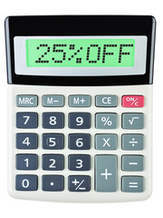 Calculator with 25%OFF on display on white background