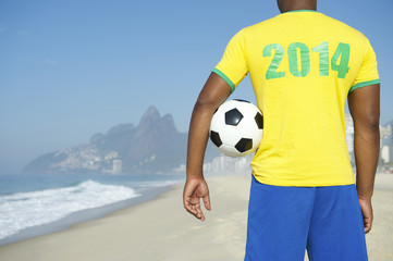 Brazil 2014 Football Player Holding Soccer Ball Rio