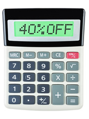 Calculator with 40%OFF on display on white background