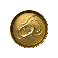 Top view of a can with key isolated on white