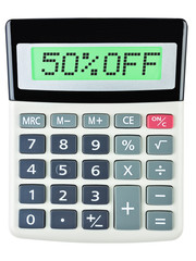 Calculator with 50%OFF on display on white background