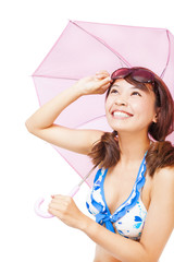 young woman holding a umbrella and holding a glasses