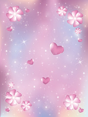 Hearts and flowers, stars background