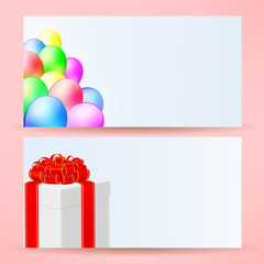 postcards with balloons and gift