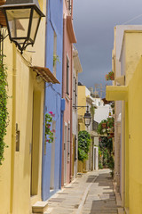 Colorful old town of Rethymno is located in Crete