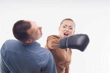 Coworkers in boxing gloves