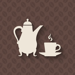 coffee pot and cup on seamless background
