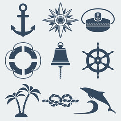 nautical marine icons set