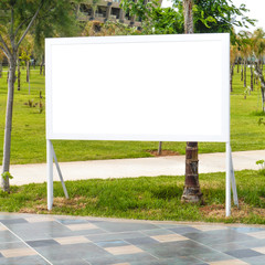 Blank billboard with tropical palm trees