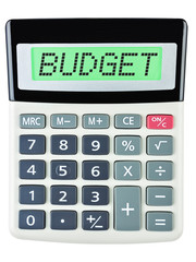 Calculator with BUDGET on display on white background