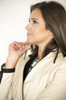 Profile of a business woman thinking