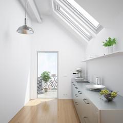 Küche in einem Dachgeschoss