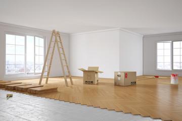 Renovierung von Zimmer in Wohnung