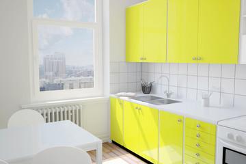 Gelbe kleine Küche in Wohnung