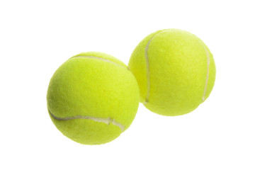 Closeup of two tennis balls