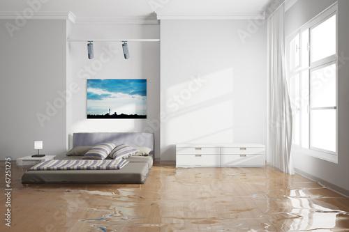canvas print picture Wasserschaden im Schlafzimmer