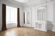 Leinwanddruck Bild - Leerer Raum mit Stuck in einer alten Villa