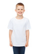 smiling little boy in white blank t-shirt - 67251477