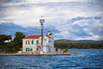 Small lighthouse in a Sibenik bay entrance, Croatia