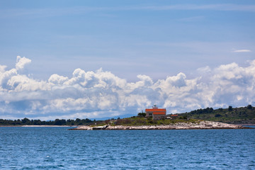 Lighthouse on a Small Island in the Adriatic Sea