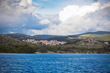 Croatian coastline view, Sibenik area, from the sea