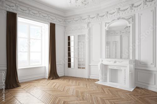 Leinwanddruck Bild Leerer Raum mit Stuck in einer alten Villa