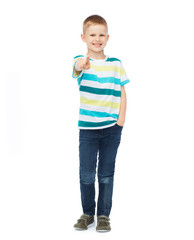 Little boy in casual clothes pointing his finger