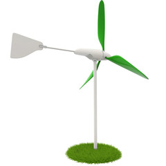 wind turbine in a green flowerbed