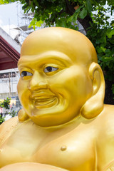 Smiling Golden Buddha Statue - chinese God of Happiness, Wat Aru