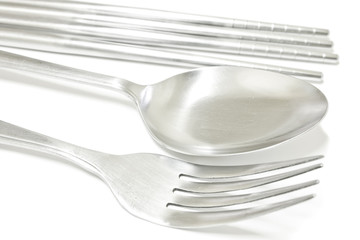 spoon, fork and chopsticks