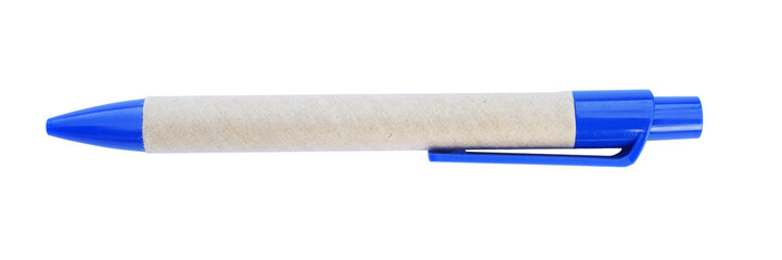 Blue pen rolled brown paper
