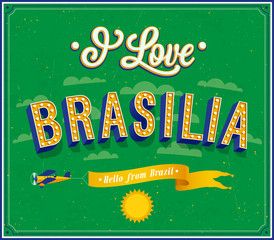 Vintage greeting card from Brasilia - Brazil.