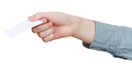 blank business card in woman's hand isolated