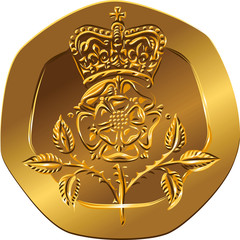 Vector British money gold coin twenty pences with the Crowned ro