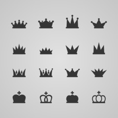 Set of crowns, vector illustration