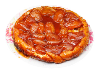 apple pie tarte Tatin on plate isolated